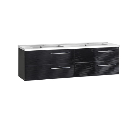 "48"" Double Vanity, Wall Mount, 4 Drawers with Soft Close, Black, Serie Dune by VALENZUELA"
