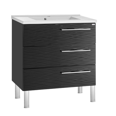 "28"" Single Vanity, Floor Mount, 3 Drawers with Soft Close, Black Glossy, Serie Dune by VALENZUELA"