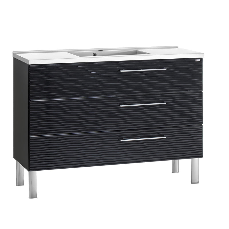 "48"" Single Vanity, Floor Mount, 3 Drawers with Soft Close, Black Glossy, Serie Dune by VALENZUELA"