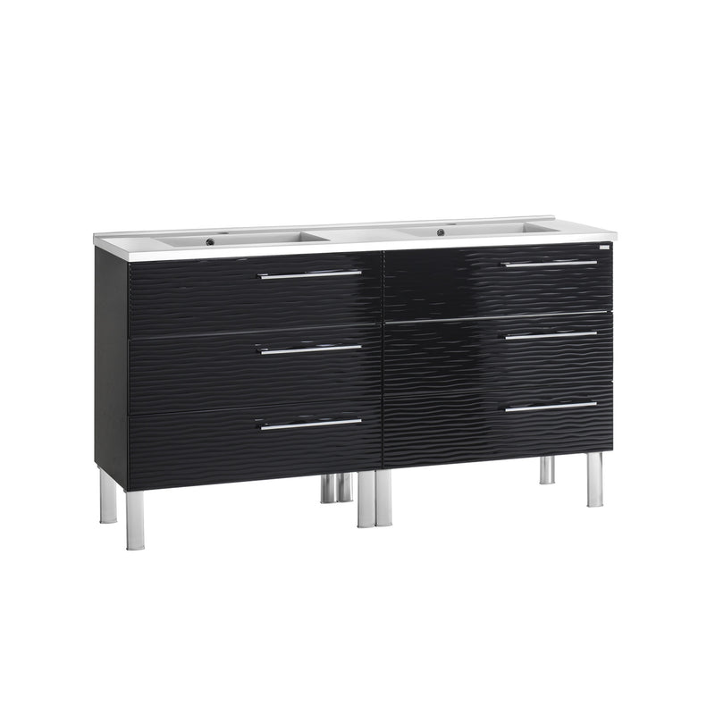 "56"" Double Vanity, Floor Mount, 6 Drawers with Soft Close, Black, Serie Dune by VALENZUELA"