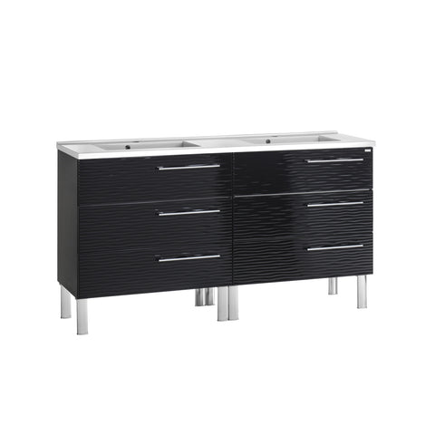 "64"" Double Vanity, Floor Mount, 6 Drawers with Soft Close, Black, Serie Dune by VALENZUELA"