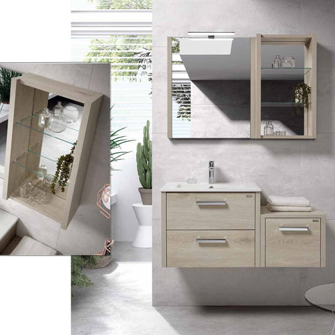 "16"" Open Side Cabinet with Shelves and Mirror, Wall Mount, Moon, Serie Nova by VALENZUELA"