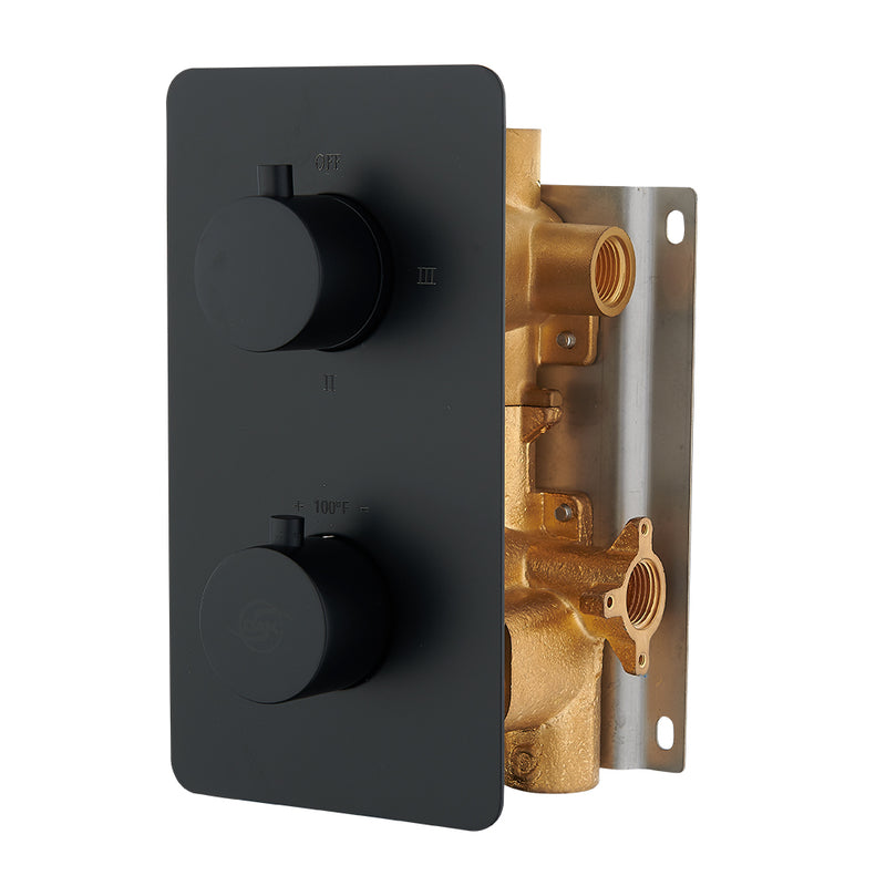 DAX Round Concealed Valve. thermostatic Mixer with 2/3 Function Diverter. Matte Black Finish (DAX-1054-RD-BL)