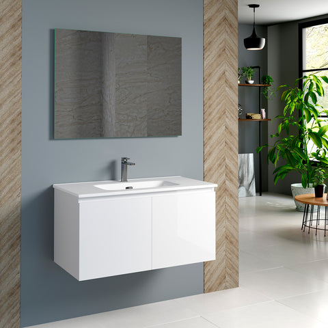 DAX Malibu Single Vanity Cabinet 36 Inches Glossy White. Ceramic Basin Included (DAX-MAL013611-ONX)