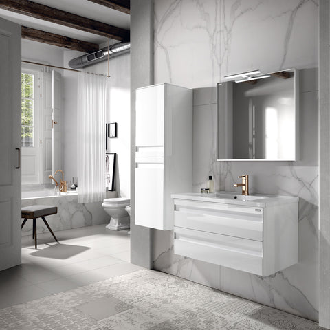 "48"" Single Vanity, Wall Mount, 2 Drawers with Soft Close, White, Serie Barcelona by VALENZUELA"