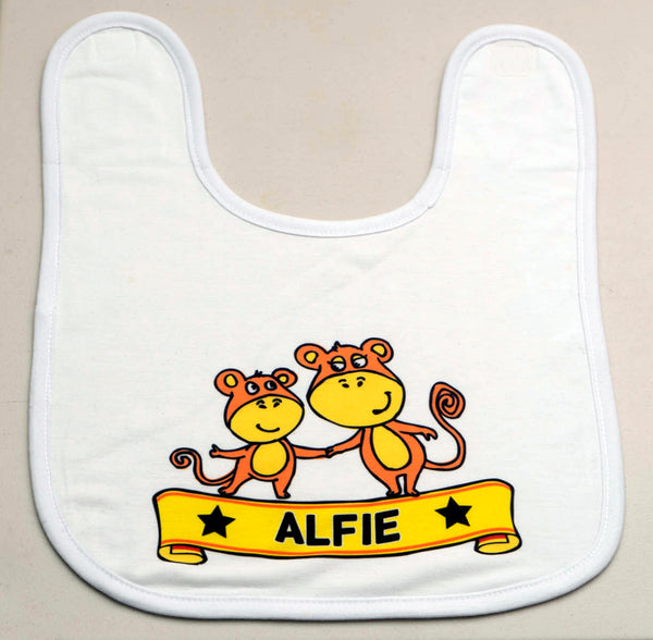 Monkey Design Baby Bib - PERSONALISED