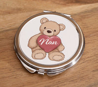 Teddy Bear with Heart 'Nan' - Round Compact Mirror