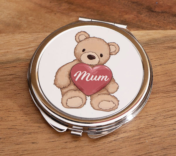 Teddy Bear with Heart 'Mum' - Round Compact Mirror