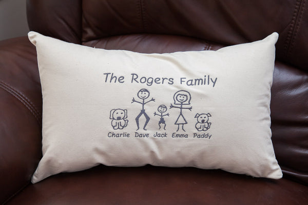 Personalised Canvas Family Cushion Cover