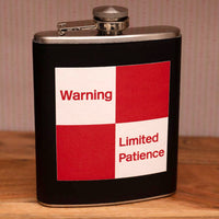 7oz Stainless Hip Flask with gift box & funnel - 'Limited Patience'
