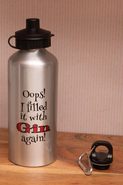 Aluminium Water Bottle - Oops I filled it with Gin again