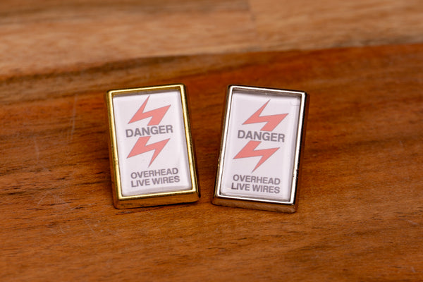 Danger - Overhead Live Wires Lapel Pin Badge