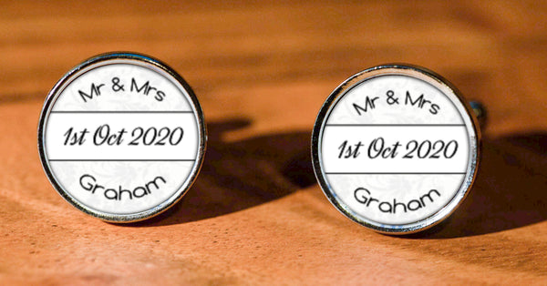 Wedding Mr & Mrs with Date Round Cufflinks with gift box