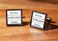 Wedding Mr & Mrs with Date Cufflinks with gift box