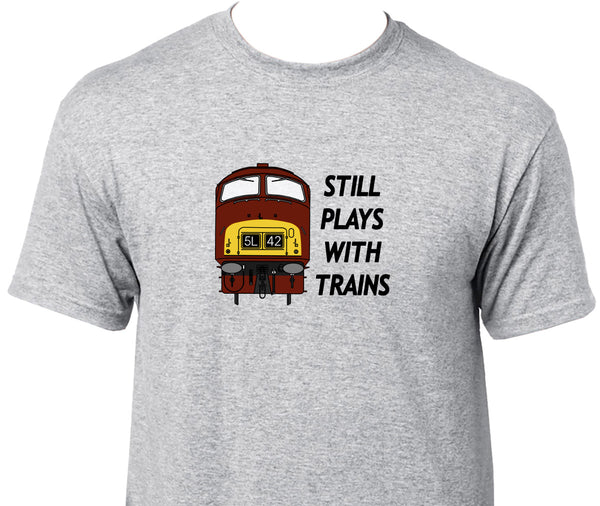 Still Plays With Trains - Class 42 Printed T-Shirt