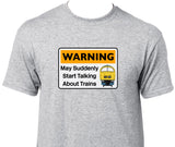Warning May Suddenly Start Talking About Trains - Class 52 (Blue) Printed T-Shirt