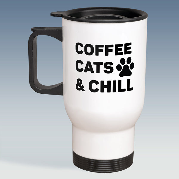 Travel Mug - Coffee, Cats and Chill - Available in White or Silver