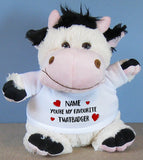 PERSONALISED Adult Rude Swear Cuddly Soft Toy Cow - Various Text Designs