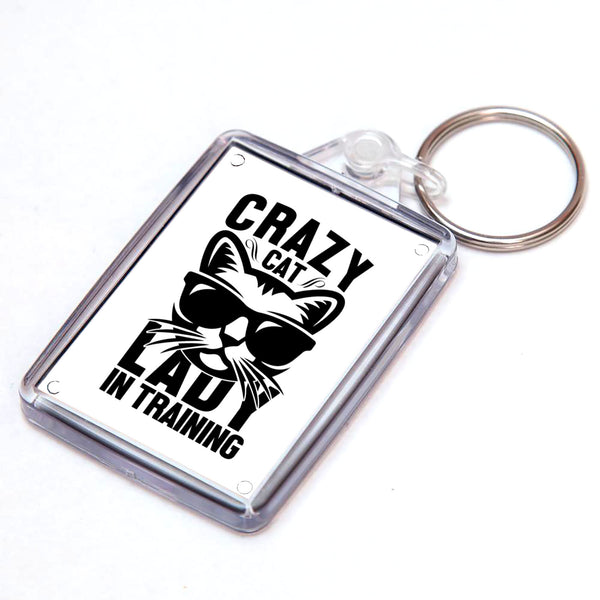 Crazy Cat Lady in Training Keyring