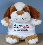 PERSONALISED Adult Rude Swear Cuddly Soft Toy Dog - Various Text Designs