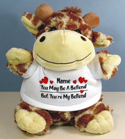 PERSONALISED Adult Rude Swear Cuddly Soft Toy Giraffe - Various Text Designs