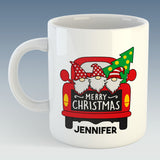 Gnomes in Truck Merry Christmas Mug - PERSONALISED