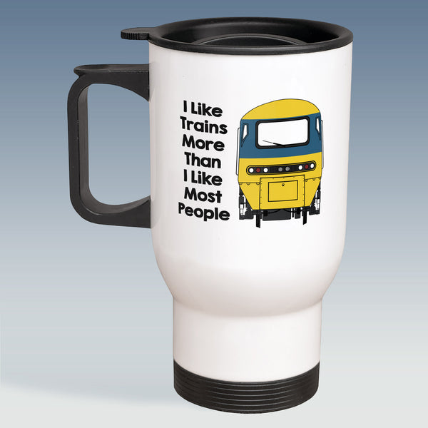 Travel Mug - I Like Trains more than Most People - HST BR Blue