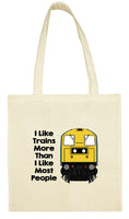 Cotton Shopping Tote Bag - I Like Trains More Than Most People Class 20
