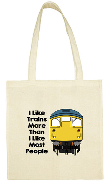 Cotton Shopping Tote Bag - I Like Trains More Than Most People Class 26