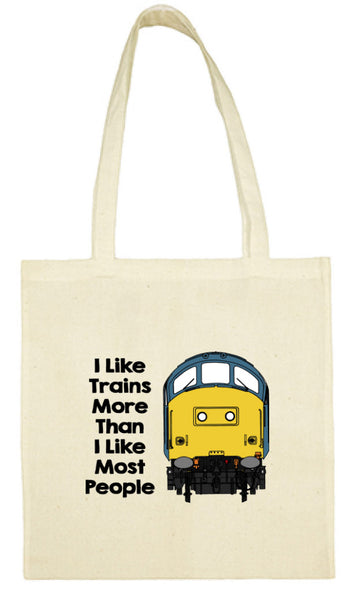 Cotton Shopping Tote Bag - I Like Trains More Than Most People Class 37