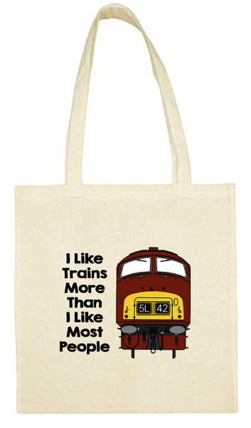 Cotton Shopping Tote Bag - I Like Trains More Than Most People Class 42