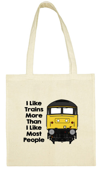 Cotton Shopping Tote Bag - I Like Trains More Than Most People Class 47