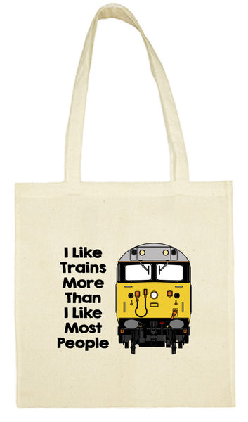 Cotton Shopping Tote Bag - I Like Trains More Than Most People Class 50