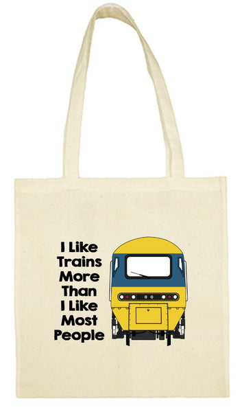Cotton Shopping Tote Bag - I Like Trains More Than Most People HST