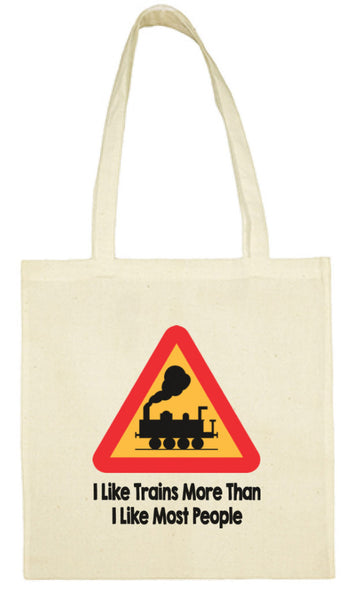 Cotton Shopping Tote Bag - I Like Trains More Than Most People Steam