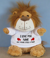PERSONALISED Adult Rude Swear Cuddly Soft Toy Lion - Various Text Designs