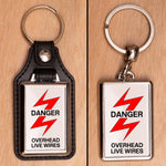 Danger Overhead Live Wires Railway Sign Keyring - Choose PU Leather or Metal