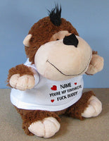 PERSONALISED Adult Rude Swear Cuddly Soft Toy Monkey - Various Text Designs