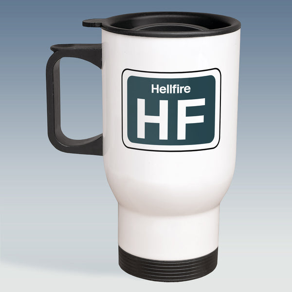 Travel Mug - Humour Shed Depot Sticker 'Hellfire'