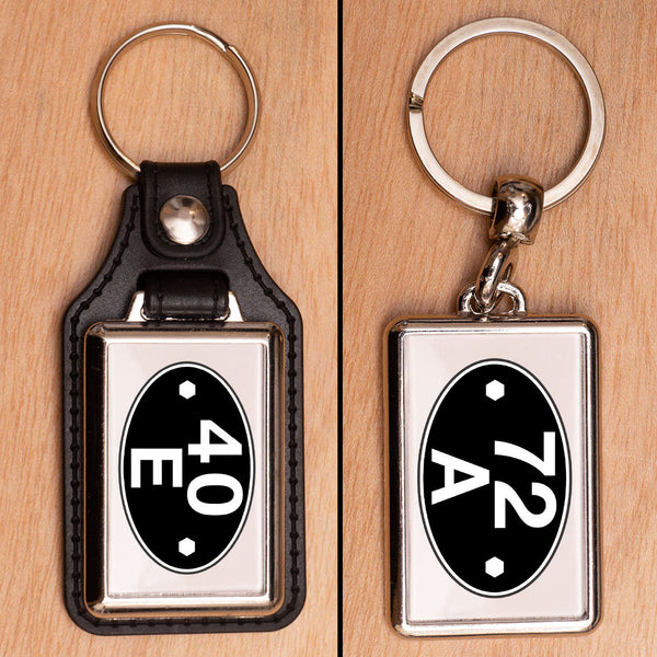Shed Plate Depot Code Railway Keyring - Choose PU Leather or Metal - PERSONALISED
