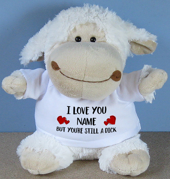 PERSONALISED Adult Rude Swear Cuddly Soft Toy Sheep - Various Text Designs