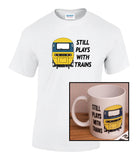 Still Plays with Trains - HST (BR Blue) - Mug & T Shirt set