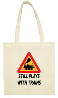 Cotton Shopping Tote Bag - Still plays with trains