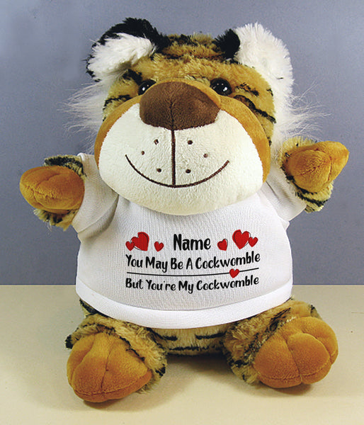 PERSONALISED Adult Rude Swear Cuddly Soft Toy Tiger - Various Text Designs