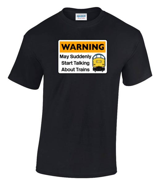 Warning May Suddenly Start Talking About Trains - Class 37 Printed T-Shirt