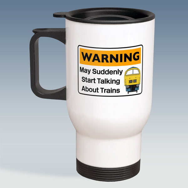 Travel Mug - Warning may suddenly start talking about Trains - Class 52 BR Blue