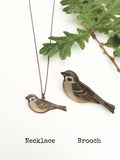 House Sparrow necklace or brooch