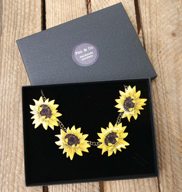 Sunflower necklace, sunflowers, sunflower jewelry, sunflower, big necklace, yellow necklace, summer necklace, flower necklace, yellow flower