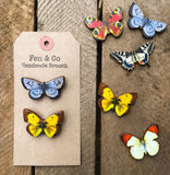Two British butterfly brooches