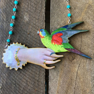 Avant garde statement bird necklace